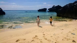 与論島、海遊び